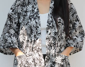 Kimono Jacket Kimono Cardigan Loose Simple Black leaves Abstract Modern