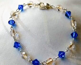 Blue and clear Crystal beads - women jewelry women bracelet