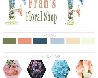 Premade Branding Kit| Premade Logo Design| Floral Shop Logo Design| Flower Shop Logo| Feminine Branding Kit| DIY Premade Logo| Flower Logo