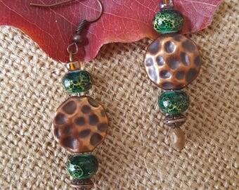 Copper/Green Dangle Earings
