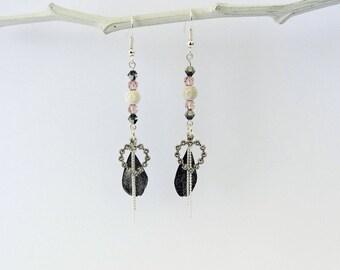 swarovski pearl earrings, feather