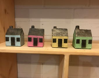 Cast Iron Mini Houses (Hand-Poured and Painted)