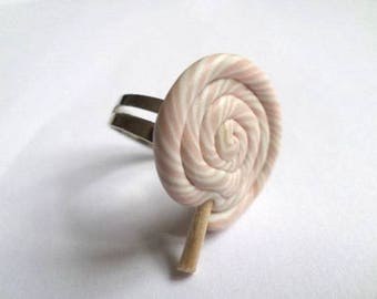 Ring round lollipop pink and white Fimo