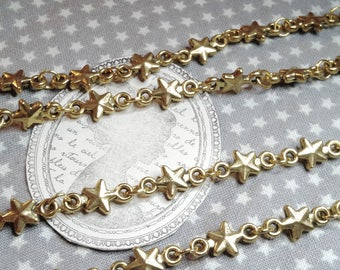 """Chain mesh fancy connectors """"Stars"""", 17 cm, gold, jewelry making"""