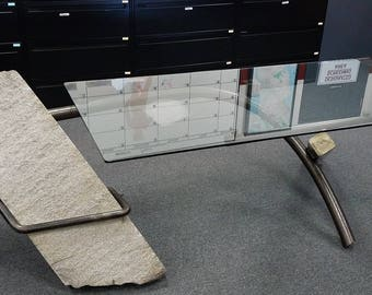 "Artist: John Van Alstine, Desk/Sculpture, Granite, Steel & Glass - ""JVA"" ""7.85"""