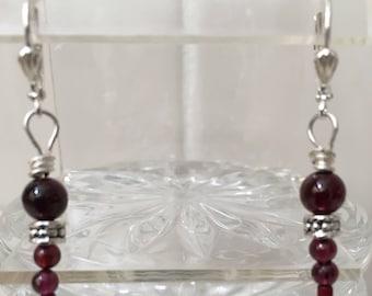 Garnet and Silver dangle earrings