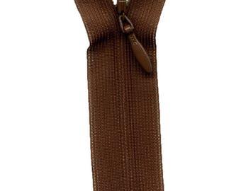 Invisible 22 cm C700 chocolate brown zipper