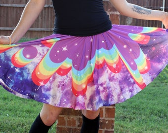 Rainbow Drip Galaxy Skater Skirt - Colorful Galaxy Print Skirt - One Size and Plus Size