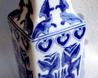 Cobalt Blue VASE, Chinese, with Flower Bouquet Included