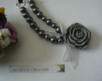Pink grey resin solitaire necklace