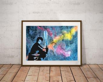 Watercolor Luke Skywalker, Star Wars, Watercolor Painting, art, wall art, kids decor, handmade original watercolor, wall decor