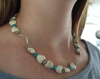 Hearts and turquoise necklace