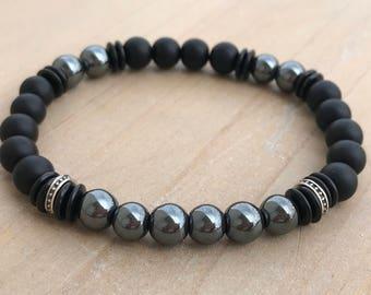 Men's Bracelet, Grounding Bracelet, Hematite Bracelet, Black Onyx Bracelet, Yoga Bracelet, Spiritual Bracelet, Mala Bracelet, Wrist Mala