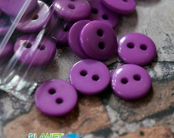 10 / 50 small round buttons in purple plastic 10mm | Haberdashery Sewing Crafts scrapbooking | purple button 2 holes