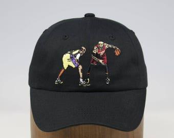Lebron James vs Kobe Bryant - Cleveland Cavaliers vs Los Angeles Lakers inspired custom Dad Hat