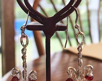 Elegant Sterling Silver Dangle Earrings, With Red Swarovski Crystals