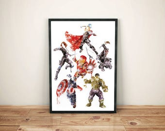 Original Marvel Avengers Art Print Illustration Watercolour/Ink Effect Captain America Thor Hulk Iron Man Black Widow Hawkeye