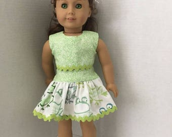 """Two piece tennis outfit for American Girl or similar 18"""" dolls"""