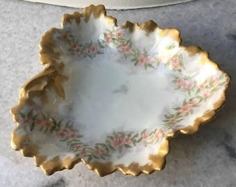 W M Guerin of Limoges France  - Floral Leaf Dish (W G & Co)