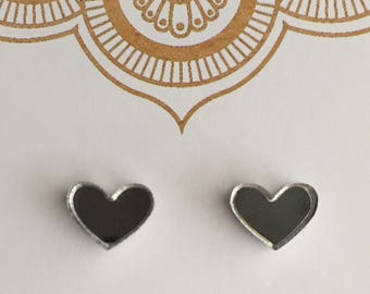 Mirror and Glitter Mini Heart Stud Earrings, Silver Mirror, Gold Glitter, Lavender