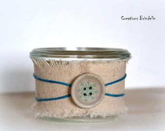 Mini wood tealight linen, blue string and button