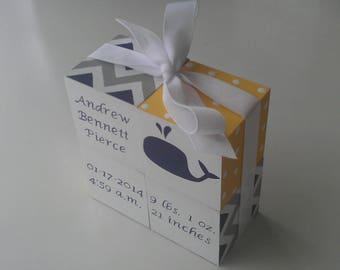 Handpainted Birth Announcement Baby Blocks