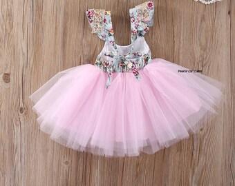 Tutu Dress - Baby Girl Dress - Toddler Girl Dress - Floral Tutu - Little Girl Dress - Outfit - Birthday Tutu - Girl Tutu Dress