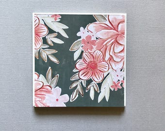 Set of 4 - Pink and Gray Vintage Flower Ceramic Coasters - floral coasters