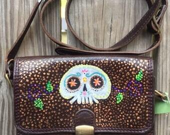 Hand painted leather purse, skulls, dia de los muertos