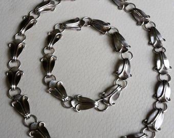 Necklace and Bracelet Vintage silver 800 vine leaves