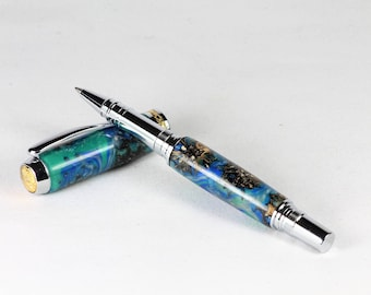 Blue Rollerball Pen featuring Seed Pods cast in Acylic. Handmade in Yorkshire. Great Birthday Gift, Graduation, Christmas, Anniversary