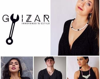 Contemporary jewellery. Unique design. Guizar. Nuts. Washers. Stainless steel. Made in Mexico.