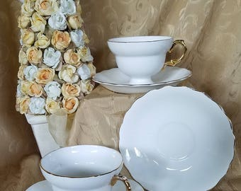 Rosina-Queen's White Fine Bone China 2-Teacups and 3-Saucers