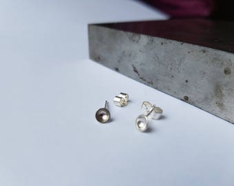 Tiny Simple Sterling Silver Round Dimple Stud Earrings