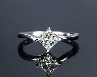 Princess Diamond Engagement Ring 14k White Gold or Yellow Gold or Rose Gold Diamond Ring Solitaire Proposal Ring Anniversary Ring