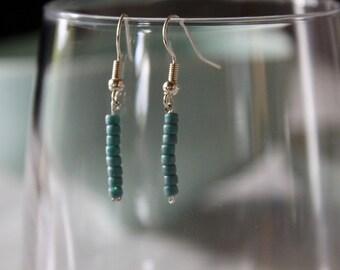 Blue-bead sterling silver 925 earrings