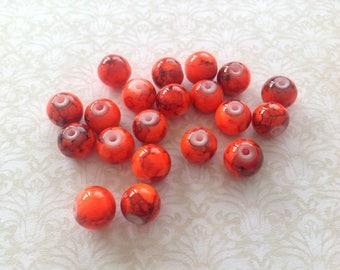20 round glass beads 8 mm orange
