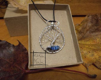 Tree of Life Silver Wire Aura Quartz pendent necklace sacred tree knowledge  energy Celtic druid magic wisdom beauty protection summer fall