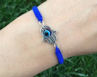 Hamsa evil eye bracelet, Protection bracelet, Macrame bracelet