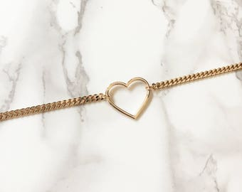Rose Gold Hollow Heart Attached to Chain Choker