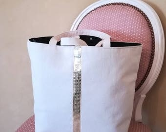 Ecru cotton tote with glitter / handcrafted / Atelier19100