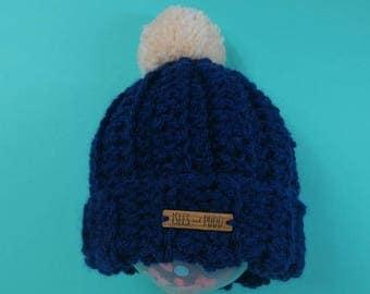 Kids | NAVY | Crocheted Unisex | Bobble Hat | With Cream Pom Pom