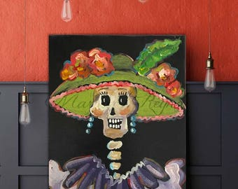 "La Catrina Day of the Dead Art Print from Original Painting ""La Vida"""