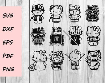 Hello Kitty Star Wars SVG DXF PNG cutting file, Printable, T-shirt Design, Scrapbooking Clipart