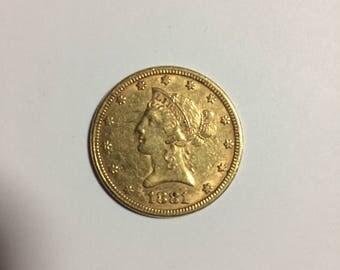 1881 Liberty Head Ten Dollar Gold Coin--Pennsylvania