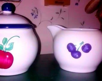 Princess House Orchard Medley Creamer & Sugar