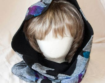 Nuno Felted Cowl with Black, Blue and Fushia Extra Fine Merino Wools and Silks