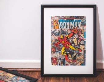 Framed Marvel Superhero 1980 Iron Man comic book cutout, bedroom, man cave, office, custom framed art, Birthday gift, free shipping to UK