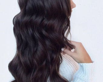 100% Remy Human Hair Clip In Extensions Dark Brown #02