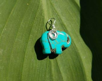 Sterling turquoise elephant pendant